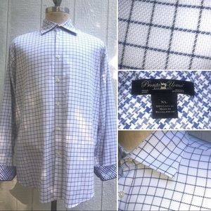 EUC PRONTO UOMO MENS XL GRID BUTTON-UP FLIP CUFF